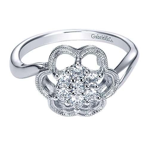 Gabriel - 14k White Gold Floral Fashion Ladies' Ring