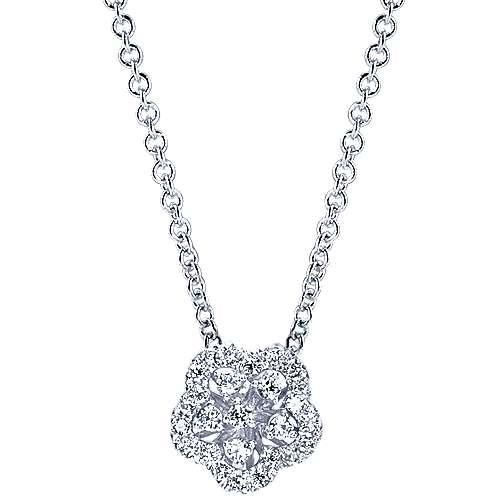 Gabriel - 14k White Gold Floral Fashion Necklace