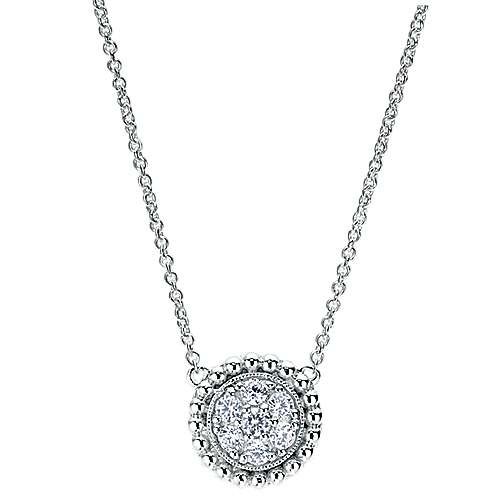 Gabriel - 14k White Gold Bombay Fashion Necklace