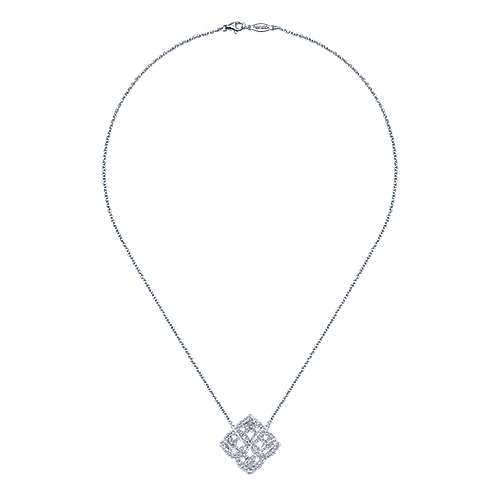 14k White Gold Diamond Fashion Necklace angle 2