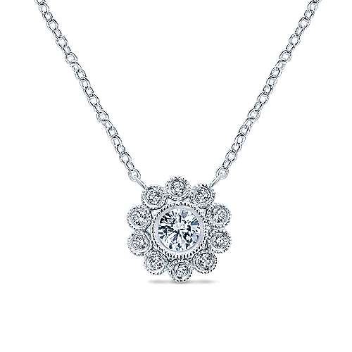 14k White Gold Floral Fashion