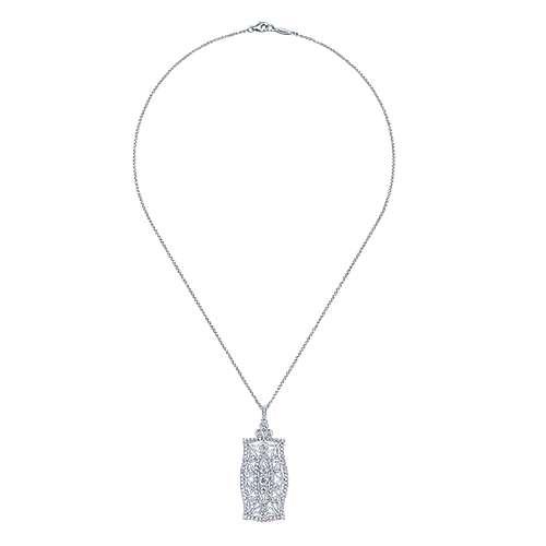 14k White Gold Diamond Fashion Pave Pendant Necklace angle 2