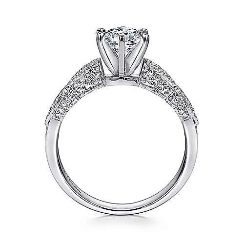 14k White Gold Diamond Filgree Shank Straight Engagement Ring angle 2