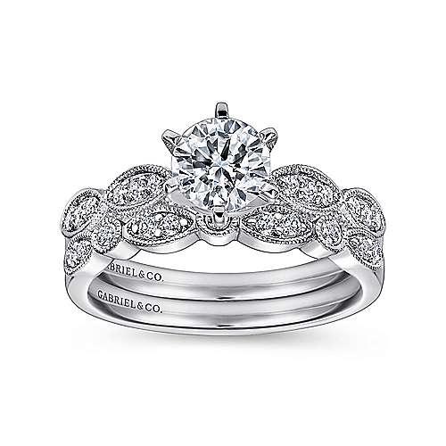 14k White Gold Diamond Filgree Shank Straight Engagement Ring angle 4