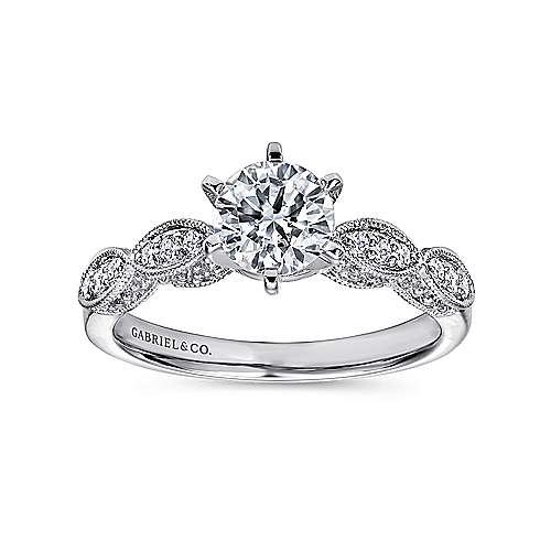 14k White Gold Diamond Filgree Shank Straight Engagement Ring angle 5
