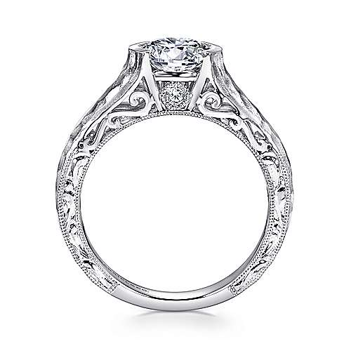 14k White Gold Diamond Filgree Solitaire Engagement Ring with Hammered Shank angle 2
