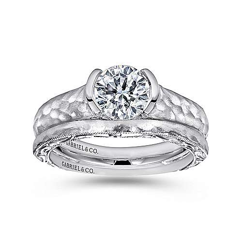 14k White Gold Diamond Filgree Solitaire Engagement Ring with Hammered Shank angle 4