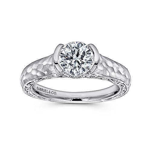 14k White Gold Diamond Filgree Solitaire Engagement Ring with Hammered Shank angle 5
