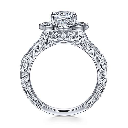 14k White Gold Diamond Flower Halo Engagement Ring With Hand Etched Shank angle 2