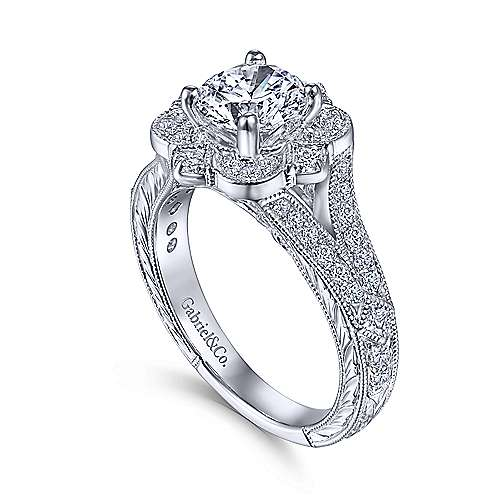 14k White Gold Diamond Flower Halo Engagement Ring With Hand Etched Shank angle 3