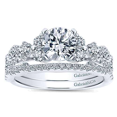 14k White Gold Diamond Free Form Engagement Ring angle 4