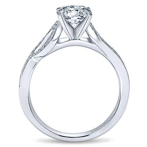 14k White Gold Diamond Free Form Engagement Ring angle 2