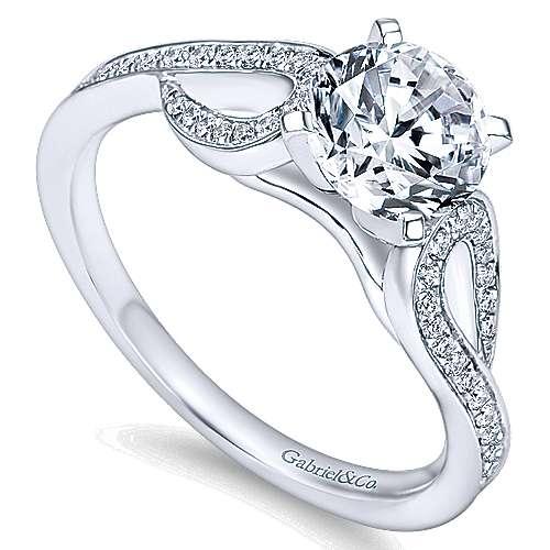 14k White Gold Diamond Free Form Engagement Ring angle 3