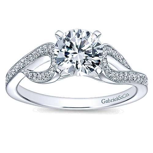 14k White Gold Diamond Free Form Engagement Ring angle 5