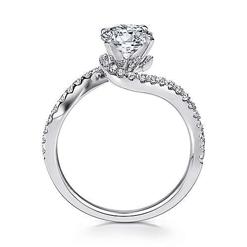 14k White Gold Diamond French Pave Bypass Engagement Ring angle 2