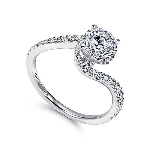 14k White Gold Diamond French Pave Bypass Engagement Ring angle 3