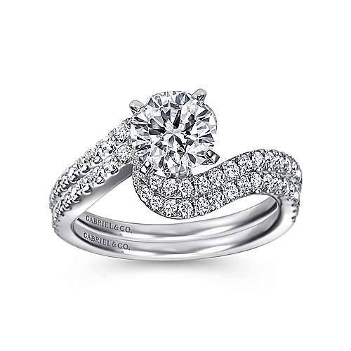 14k White Gold Diamond French Pave Bypass Engagement Ring angle 4