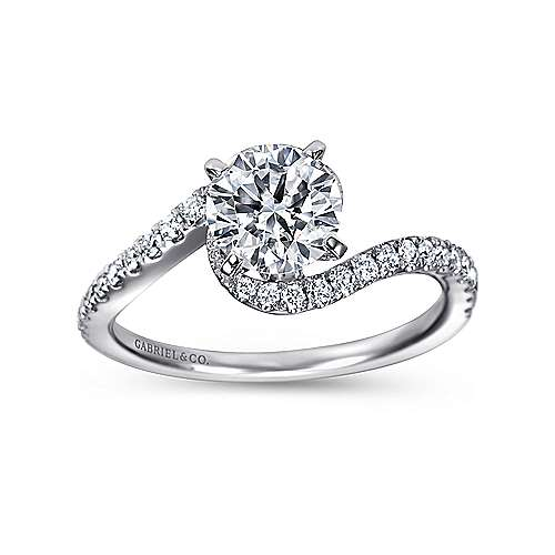 14k White Gold Diamond French Pave Bypass Engagement Ring angle 5