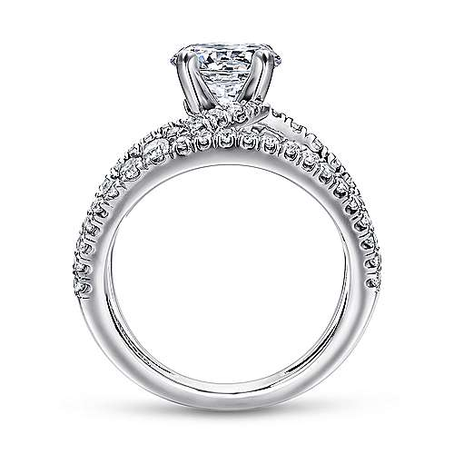 14k White Gold Diamond French Pave Split Shank Renewal Engagement Ring angle 2