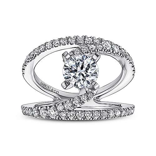 14k White Gold Diamond French Pave Split Shank Renewal Engagement Ring angle 5