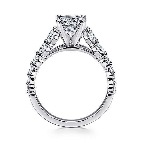 14k White Gold Diamond Graduating Pave with Straight Cathedral Setting Engagement Ring angle 2