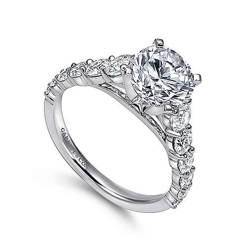 14k White Gold Diamond Graduating Pave with Straight Cathedral Setting Engagement Ring angle 3
