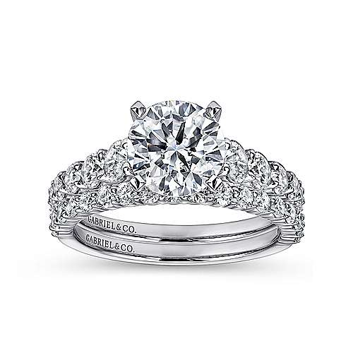 14k White Gold Diamond Graduating Pave with Straight Cathedral Setting Engagement Ring angle 4