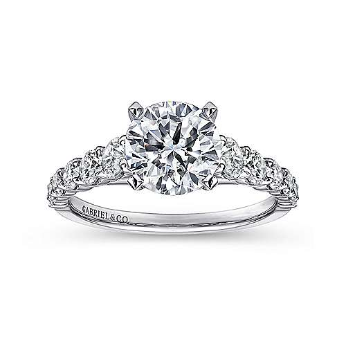14k White Gold Diamond Graduating Pave with Straight Cathedral Setting Engagement Ring angle 5