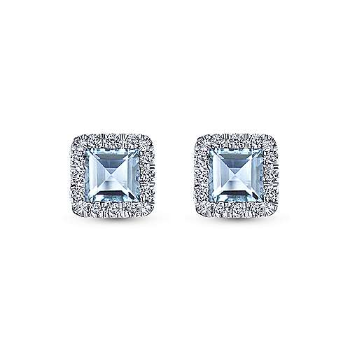 14k White Gold Diamond Halo Aquamarine Stud Earrings