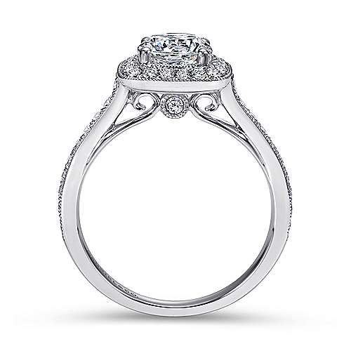 14k White Gold Diamond Halo Channel Engagement Ring angle 2