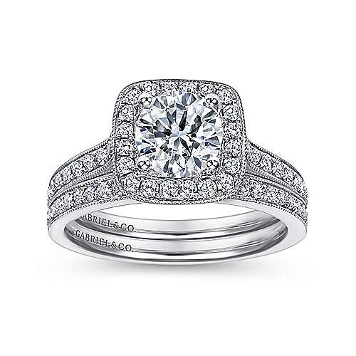 14k White Gold Diamond Halo Channel Engagement Ring angle 4