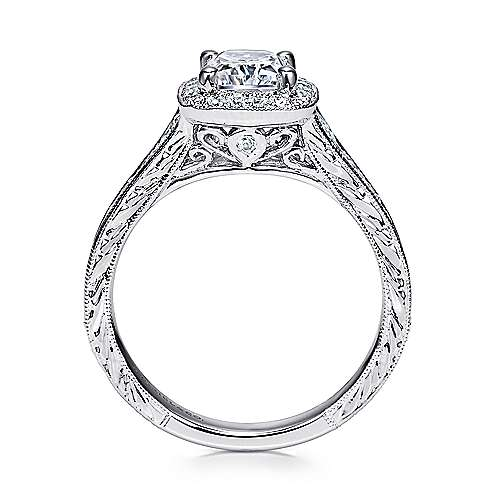 14k White Gold Diamond Halo Channel and Milgrain Engagement Ring angle 2