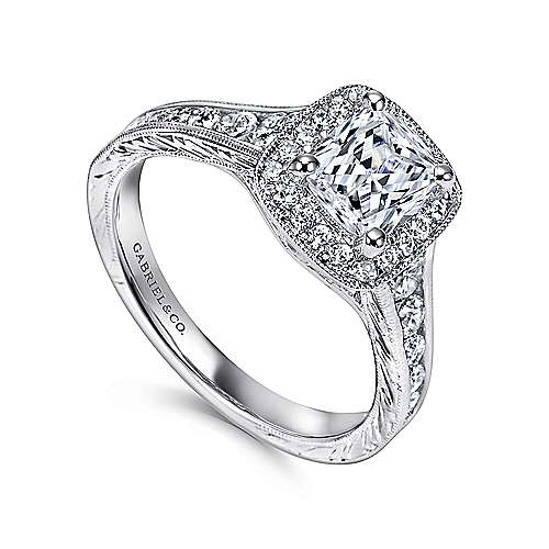 14k White Gold Diamond Halo Channel and Milgrain Engagement Ring angle 3