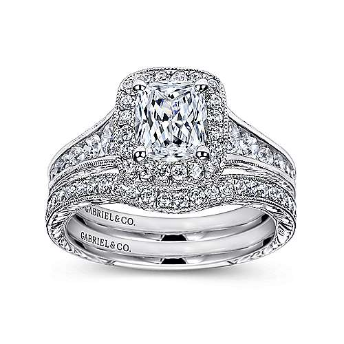 14k White Gold Diamond Halo Channel and Milgrain Engagement Ring angle 4