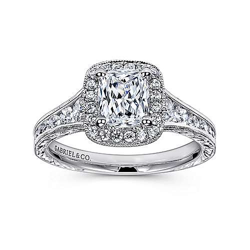 14k White Gold Diamond Halo Channel and Milgrain Engagement Ring angle 5