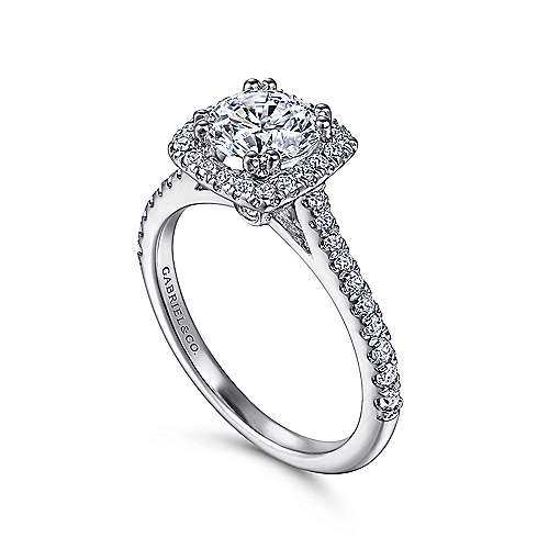 14k White Gold Diamond Halo Engagement Ring and French Pave Shank angle 3