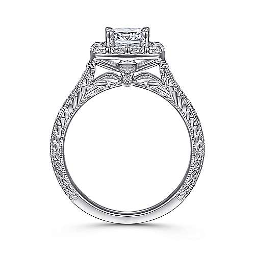 14k White Gold Diamond Halo Engagement Ring on a Channel and Milgrain Shank angle 2