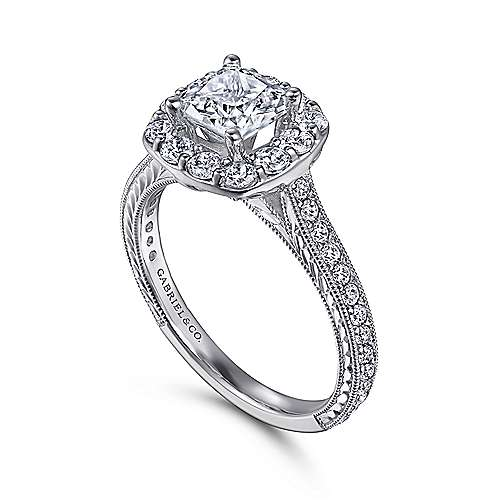14k White Gold Diamond Halo Engagement Ring on a Channel and Milgrain Shank angle 3