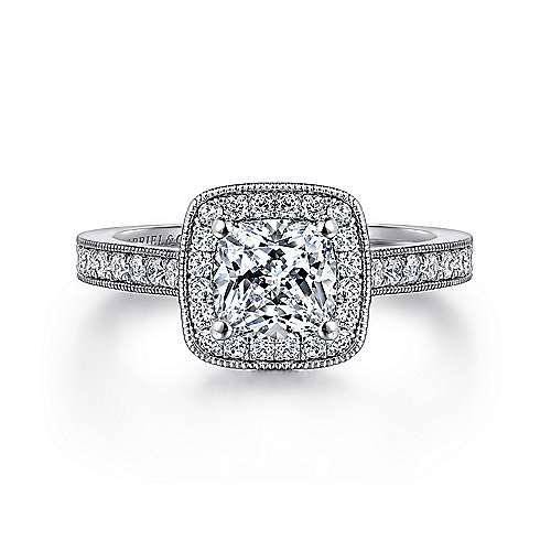 14k White Gold Diamond Halo  with Channel Setting