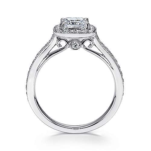 14k White Gold Diamond Halo Engagement Ring with Channel Setting angle 2
