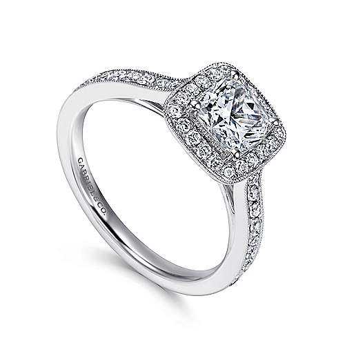 14k White Gold Diamond Halo Engagement Ring with Channel Setting angle 3