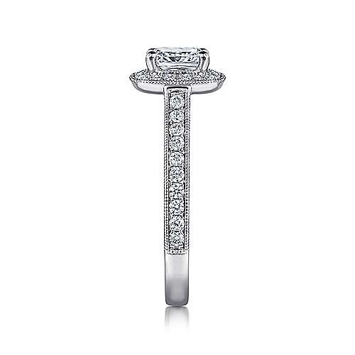14k White Gold Diamond Halo Engagement Ring with Channel Setting angle 5
