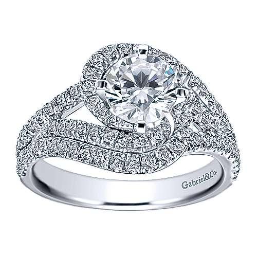 14k White Gold Diamond Halo Engagement Ring angle 5