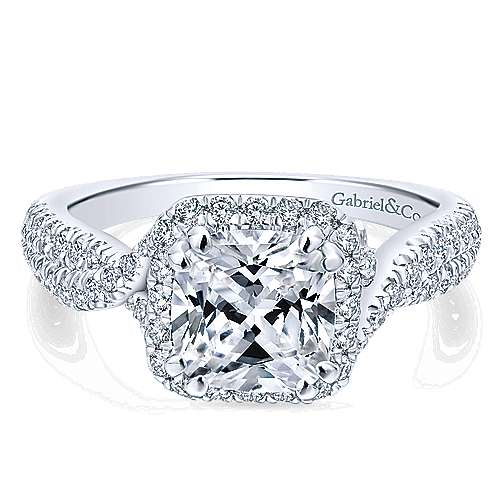 Gabriel - 14k White Gold Rosette  Engagement Ring