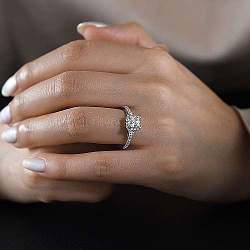 14k White Gold Diamond Halo Engagement Ring angle 6