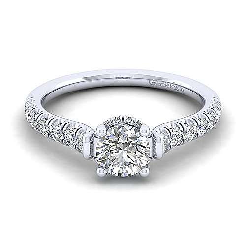 Gabriel - 14k White Gold Crown Engagement Ring