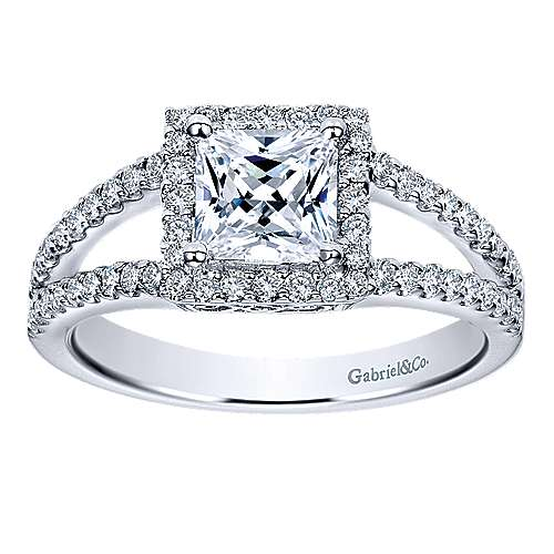 14k White Gold Diamond Halo Engagement Ring angle 5