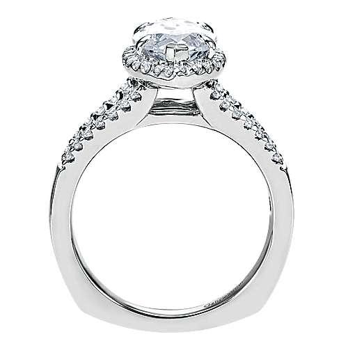 14k White Gold Diamond Halo Engagement Ring angle 2