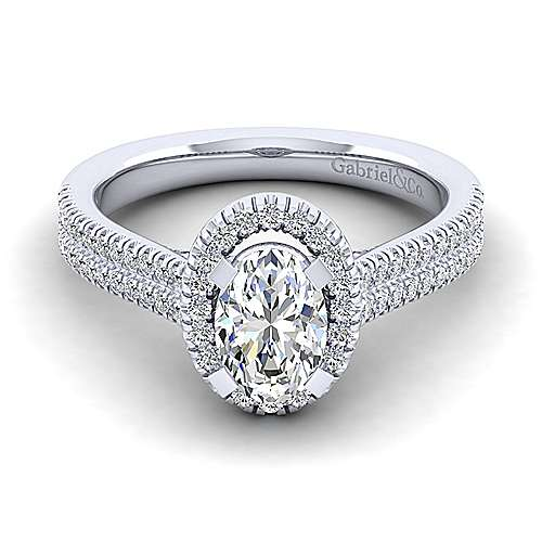 Gabriel - 14k White Gold Oval Halo Engagement Ring