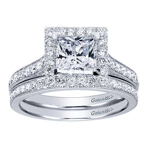 14k White Gold Diamond Halo Engagement Ring angle 4